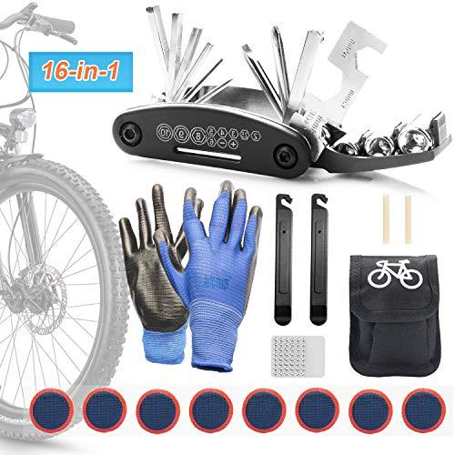 JIPRENS Fahrrad-Multitool 16 in 1 Multifunktionswerkzeug Reparatur Fahrradwerkzeug Tool Reifenheber, Fahrrad Reparatur Werkzeug mit Tasche Selbstklebendes Fahrradflicken Inbegriffen für Mountainbikes