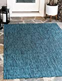 Unique Loom Outdoor Solid Collection Casual Transitional Indoor and Outdoor Flatweave Teal Area Rug (9' 0 x 12' 0)