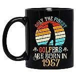 N\A Vintage Solo i Migliori Golfisti Sono Nati nel 1957 Compleanno Amanti del Golf Tazza in Ceramica Tazze da caffè grafiche Tazze Nere Top da tè novità Personalizzata 11 Oz
