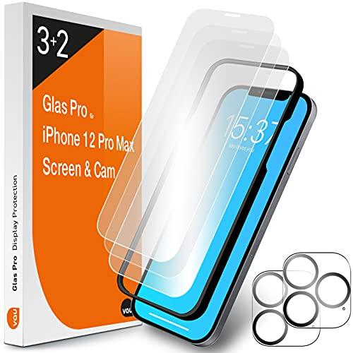 vau Cristal Pro compatible con iPhone 12 Pro Max (6,7) Protector de pantalla 3 unidades con plantilla + 2 protectores de pantalla para cámara