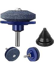VCMUTRL Grasmaaier-messenslijper voor Power Drill handboor, universele grasmaaier-slijpwiel-steeninzet met 3 grasmaaier-messenslijper + 1 grasmaaier-mescompensatie