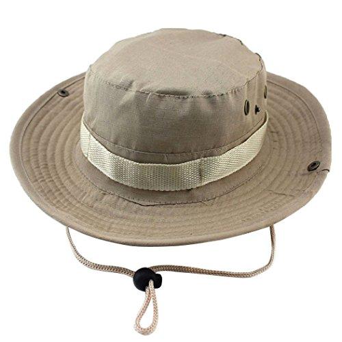 Chapeau de pêche à grand bord pour protection UV, séchage rapide, pour randonnée, camping, voyages - Unimango Large kaki clair