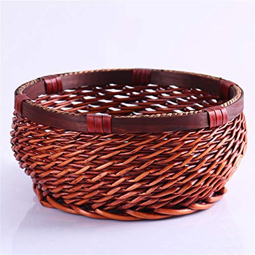 Xuulan XIanglan-bread fruit basket,Wicker Weaving Round Bread Basket, Kitchen Food Picnic Bread Sundry Home Rattan Organizer, For travel and home (Color : Dark brown, Size : 20x10)