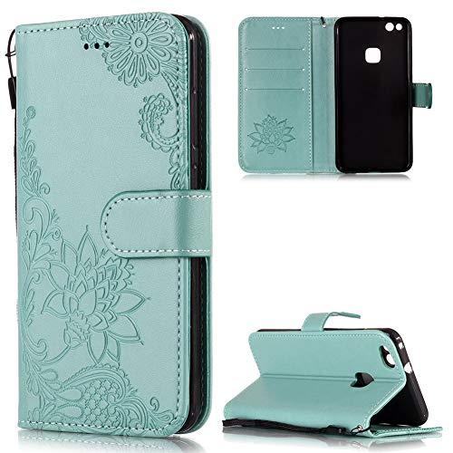FNBK Handyhülle für Huawei P10 Lite Leder Brieftasche, Blumen Flip Wallet Stand Case Card Slot Leder Tasche Karteneinschub Magnetverschluß Kratzfestes Grün Schutzhülle für Huawei P10 Lite