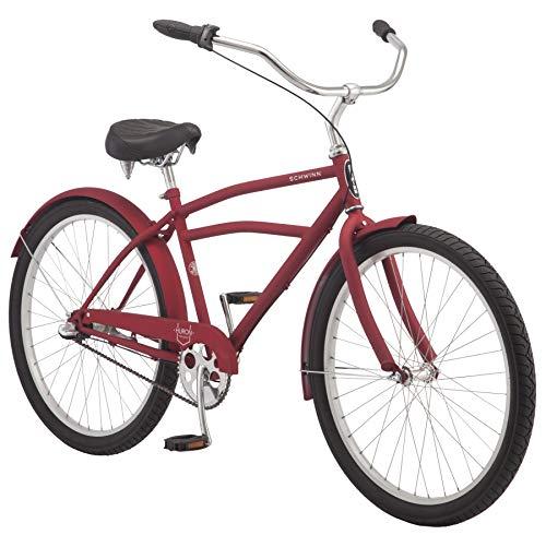 Schwinn Huron Adult Beach Cruiser Bike, Featuring 17-Inch/Medium Steel Step-Over Frames, 3-Speed Drivetrains, Red