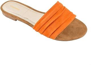 Chumbak Suede Tangerine Sliders for Women