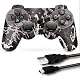 PS3 Controller, PS3 Controller Wireless, CFORWARD PS3 Joystick with Double Shock and 6-Axis Gamepad Compatible for Playstation 3 Remote with Charger and Thumb Gripss