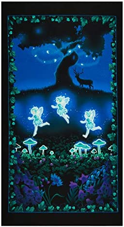 Henry Glass Glow in The Dark Summer Night Soiree Fairy Meadow 24in Panel Multi Fabric product image