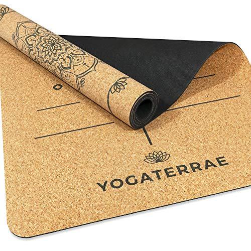 YOGATERRAE Tapis de Yoga Antiderapant Liege Naturel & Caoutchouc Naturel Marque Française Alignements + Sangle Transport-Etirements 183x66x0.5cm Tapis Yoga Fitness Pilates Engagement 1% for the Planet