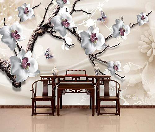 3D Luxury Jewelry Flower TV Fondo pared invierno jazmín - 250 x 175 cm
