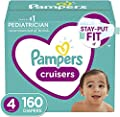 Diapers Size 4, 160 Count - Pampers Cruisers Disposable Baby Diapers, ONE MONTH SUPPLY (Packaging May Vary)