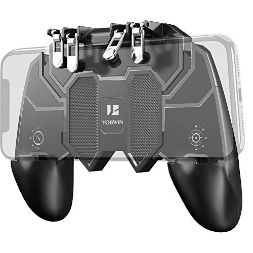 """YOBWIN Mobile Game Controller with 4 Triggers for PUBG/Call of Duty Mobile/Fotnite Rules of Survival, Portable 6 Fingers Operation Joystick Remote Mobile Controller for 4.7-6.5"""" iOS Android Phone"""