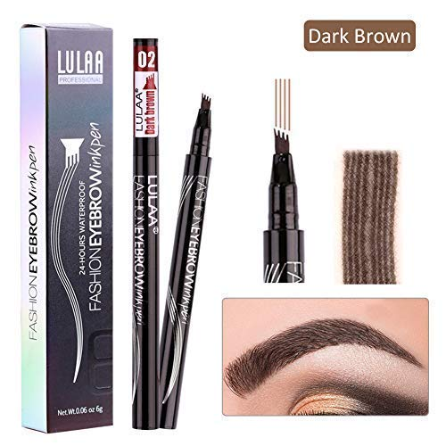 Eyebrow Tattoo Pen - Microblading Eyebrow Pencil with a Micro-Fork Tip Applicator Long-lasting Waterproof Brow Gel & Tint Dye Cream for Eyes Makeup (#2)