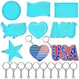 Kalolary 7PCS Epoxidharzform, USA Flag Harzformen Sternförmige Herzförmige R&e Form der Amerikanischen Flagge Schlüsselb& Anhänger Harzform U.S. Independence Day Partyfeier Liefert