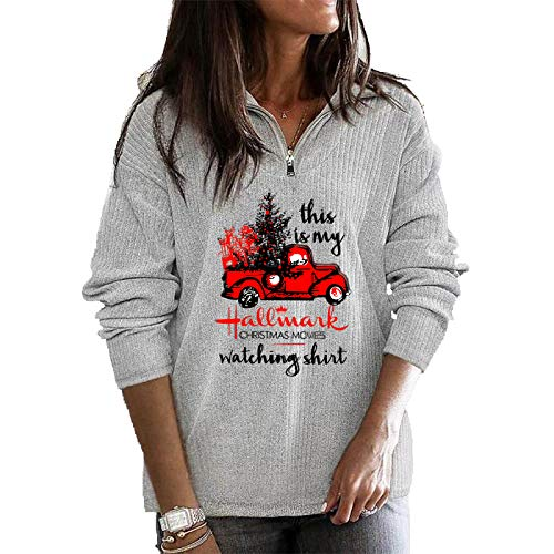 Women's This is My Christmas Movies Watching Shirt Zip Sweatshirt, Fall Shirt for Women (Grey, 3XL)