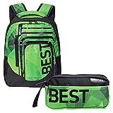 """BESTLIFE Mochila y estuche en un set """"BREVIS"""" mochila escolar, para el tiempo libre con compartimento para el portátil hasta 15,6 pulgadas (39,6 cm), la menta verde"""