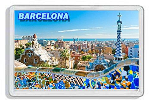 AWS Magnete in PVC Rigido Barcellona Barcelona Spagna Spain Souvenir calamita Fridge Magnet Magnete da frigo in plastica Dura con Immagine Fotografica Città