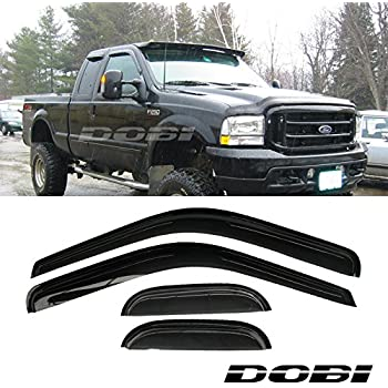 LQQDP Set of 4 Front+Rear Smoke Sun//Rain Guard Wind Deflector Outside Mount Tape-On Acrylic Window Visors For 99-16 Ford F250//F350//F450//F550 Super Duty Supercrew//Crew Cab With 4 Full Size Doors