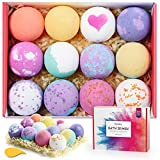 Homasy Bath Bombs Set, 12 Pcs Bath Bomb Set Rich in Essential Oils, Shea Butter, Sea Salt, Handmade Bath Bomb Gift Set for Women, Kids, Wife, Mom, SPA Bubble Fizzies Birthday Mothers' Day Gift