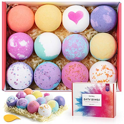 Homasy Bath Bombs Set 12 Pcs Bath Bomb Set Rich in Essential Oils Shea Butter Sea Salt Handmade Bath Bomb Gift Set for Women Kids Wife Mom SPA Bubble Fizzies Birthday Mothers#039 Day Gift