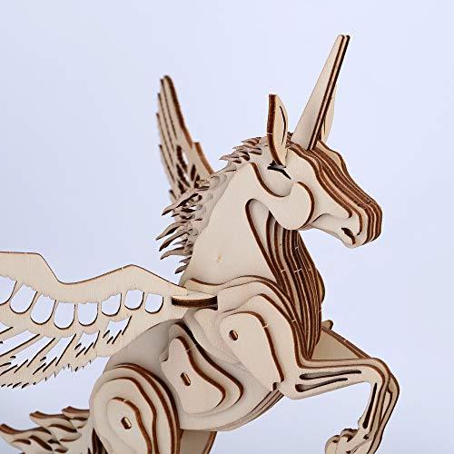 GuDoQi 3D Holz Puzzle, Holz Einhorn Modellbausatz, Holzbausatz zu Bauen, DIY Montage Holzpuzzle Spielzeug, Bastelset, Geschenk aus Holz fur Kinder und Jugendliche