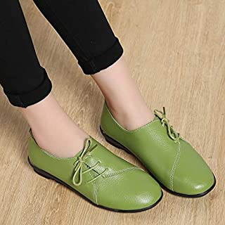 YKDY Simple and Stylish Flat Heel Lace-up Solid Color Casual Shoes for Woman (Color:Black Size:35)