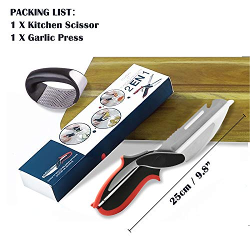 O'woda Clever Cutter 2-in-1 Knife and Cutting Board Stainless Steel Multipurpose Kitchen Scissors Food Chopper Fruit Vegetable Slicer with Garlic Press Suitable for Outdoor Picnic Barbecues, Kitchen