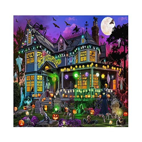 Qinday Halloween Decorations Ghost House Jigsaw Puzzle Christmas 1000 Piece for Adults, 28 x 20 Inch Illustrated Art Challenging and Family-Friendly Fun Activity Best Gift