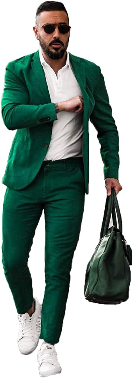 Fenghuavip Casual Solid Color Suit 2 Piece Straight Pencil Pants and Jacket Tailored