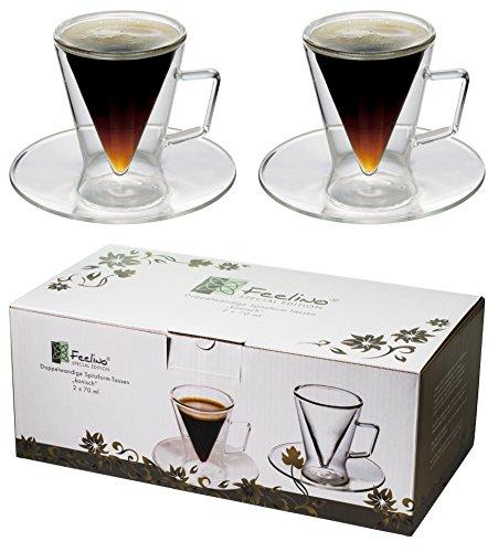 Spikey 2X 70ml doppelwandige Spitzglas-Tassen konisch mit Henkel u. Untersetzer, für Ihren ganz besonderen Espresso - geschütztes Marken-Design, (R) by Feelino(R)
