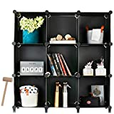 Homeries Cube Storage System (9 Cubes) – Modular DIY 9-Cube Plastic Closet Organizer Rack, Storage Shelves, Bookshelf, Bookcase for Bedroom, Office, Dorm Room, College, Living Room - Black