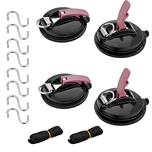 EXLECO 4 Set Saugnapf Haken, mit 8 S Haken und 2 Seil binden, Multifunktionaler Auto Halterung Zelte Saugnapfset Auto für Haushalt und Camping