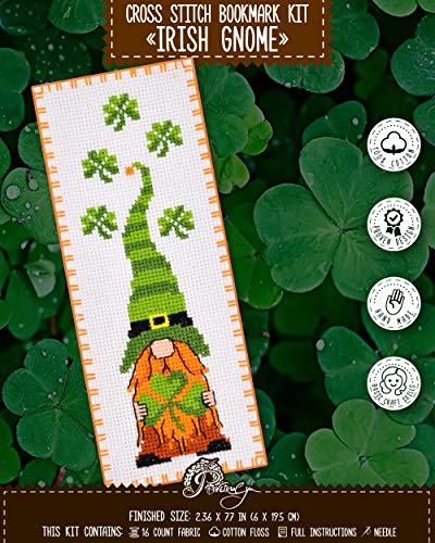 Counted Cross Stitch Kit for Hand Embroidery 'Irish Gnome' - St. Patrick's Day Gifts for a Booklover