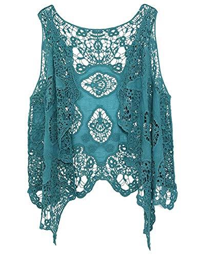 Moceal Cárdigan para mujer con punto abierto, estilo bohemio, hippie, de ganchillo, sin mangas, blusa azul Tallaúnica