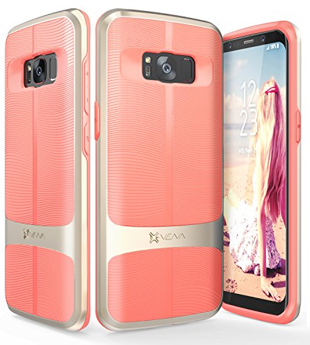 Galaxy S8 Plus Case, Vena [vAllure] Wave Texture [Bumper Frame][CornerGuard Shockproof | Strong Grip] Slim Hybrid Cover for Samsung Galaxy S8 Plus (Gold/Coral Pink)