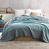 Belle Living Atil Tagesdecke Überwurf Decke - Wohndecke hochwertig - perfekt für Bett & Sofa, 100prozent Baumwolle - handgefertigte Fransen, 200x250cm (Mint)
