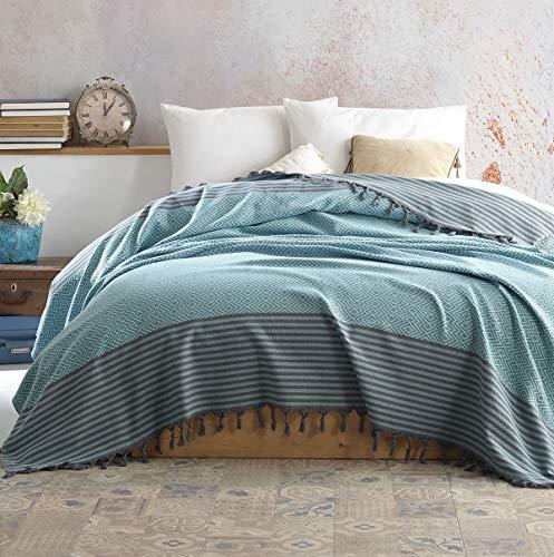 Belle Living Atil Tagesdecke Überwurf Decke - Wohndecke hochwertig - ideal für Bett und Sofa, 100% Baumwolle - handgefertigte Fransen, 200x250cm (Mint)