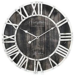 Westzytturm Wooden Wall Clocks Battery Operated,Oversized Farmhouse Vintage Frame Metal Roman Numeral Silent Big Digital,for Living Room Decor Mantel Bedrooms Home Kitchen Office(Black 24 inch)