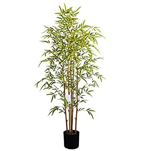 momoplant Artificial Bamboo Trees – 5ft Fake Plants Feaux Faux Plant Silk Tree in Plastic Pot for Office Garden Indoor Outdoor Decor (59inch)