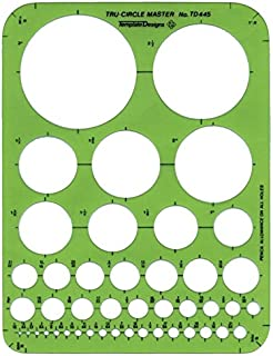 Alvin, Circle Guide Template, 44 Circles, 7 inches x 9.25 inches x .030 inches