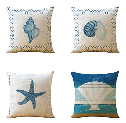 JOVEGSRVA Juego de 4 fundas de cojín de estrella de mar azul, para exteriores, jardín, banco, sala de estar, sofá, decoración de granja de 45 x 45 cm