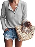Womens Henley Shirts V Neck Long Sleeve Button Down Tops Warm Waffle Knit Tees Grey