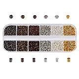 PandaHall Circa 10800 Pezzi di Perline a crimpare in Ottone, 6 Colori 1,5 mm Perline a crimpare a Tubo e 2 mm di Diametro Perline a Testa Tonda Piatta per Tappi per Braccialetti Neckalce