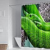 Daesar Duschvorhang 165x180 Wasserdicht Antischimmel, Badezimmer Duschvorhang Polyester Waschbar Grünes Schlangen Muster