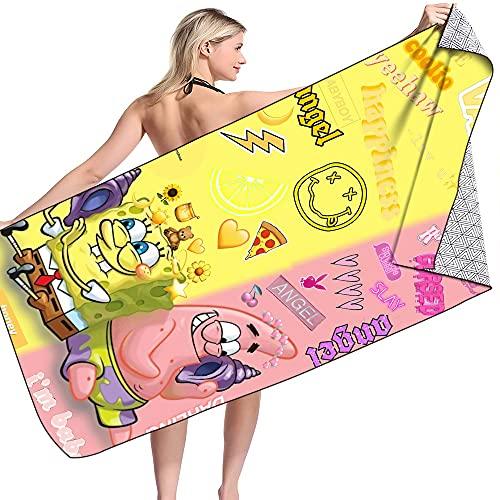 Cartoon Spongebob Handtuch,Strandtuch,weiche Mikrofaser,schnell trocknendes,saugfähiges Badetuch,Reisehandtuch (Stil 1,100x 200 cm)