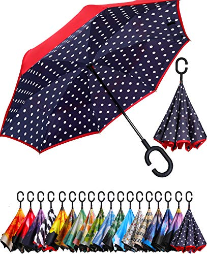 BAGAIL Double Layer Inverted Umbrella Reverse Folding Umbrellas Windproof UV Protection Big Straight Umbrella for Car Rain Outdoor with C-Shaped Handle (Blue Dot)