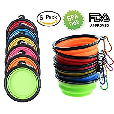 Tiger Mama Collapsible Dog Bowls, Set of 6, Silicone BPA FreeFoldable Travel Dog Bowl for Feed and Water