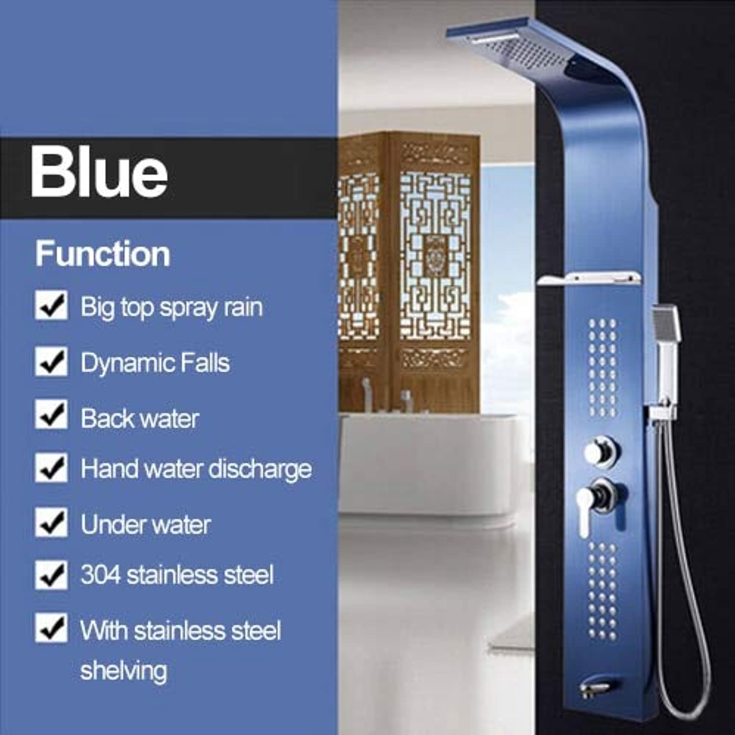 Shower Panel 5 Farbe Stainless Steel Rainfall Shower Set Massage System Faucet with Jets with Hand Shower Tower Shower Column,Blau