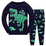 Harpily Bambino Ragazzi Pigiama Invernale 2 Pezzi Maglietta Dinosauro Cartoon T-Shirt +Pantaloni Biancheria da Notte Set di Abiti per Bambino Ragazzi 18 Mesi -7 Anni (Marina Militare, 5-6anni)