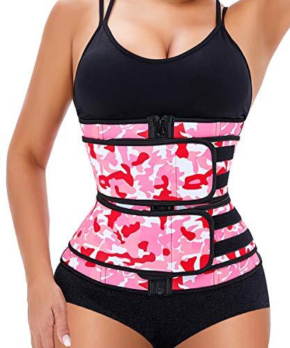 Manladi Zipper Waist Trainer For Women Weight Loss Everyday Wear long torso (Pink, X-Large)